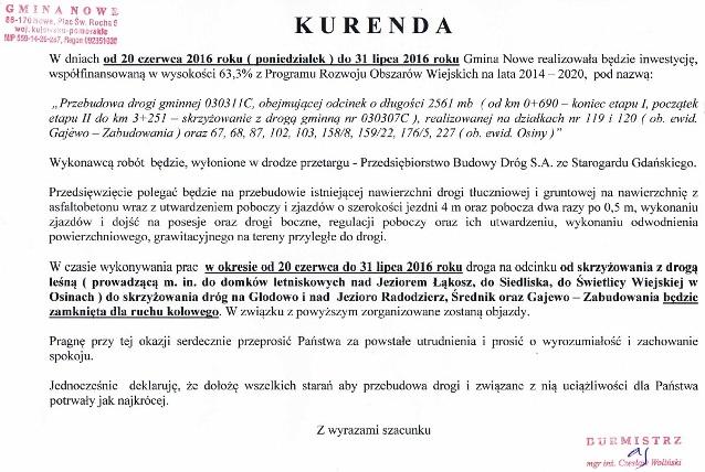 Kurenda-Przebudowa drogi gminnej Gajewo-Zabudowania-Osiny